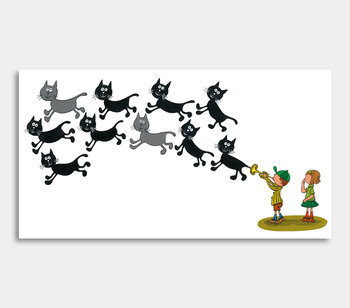 Tavla, – Nu blåser jag iväg tio svarta katter, sa Olle.