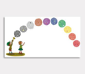 Tavla, – Nu blåser jag ut en massa färgbollar, sa Olle.