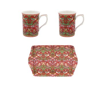 William Morris Red Strawberry Thief - Presentset med muggar & bricka