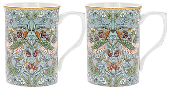 William Morris Teal Strawberry Thief - 2-pack muggar i presentkartong