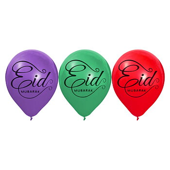 Eid Mubarak ballons purple/red/green 6-pcs