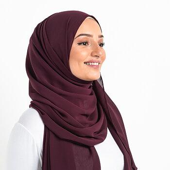 Crinkle Chiffon hijab - Aubergine