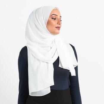 Crinkle Chiffon hijab - White