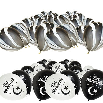 Eid Mubarak ballonnet black/white and marble ballons