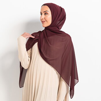 Luxe Chiffon hijab with integrated bonnet - Burgundy