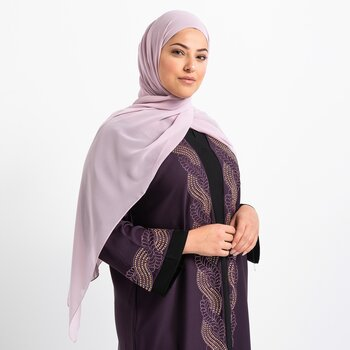 Luxe Chiffon hijab with integrated bonnet - Violet