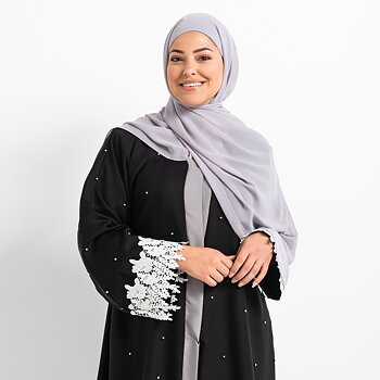 Luxe Chiffon hijab med integrerad tub underslöja - Light grey