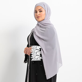 Luxe Chiffon hijab with integrated bonnet - Light grey