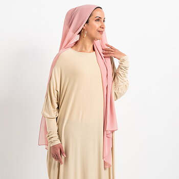 Luxe Chiffon hijab with integrated bonnet - Perfect pink