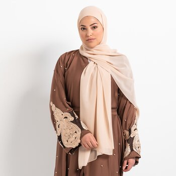 Luxe Chiffon hijab with integrated bonnet - Nude beige