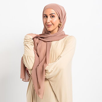 Luxe Chiffon hijab med integrerad tub underslöja - Mink