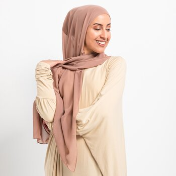 Luxe Chiffon hijab with integrated bonnet - Mink