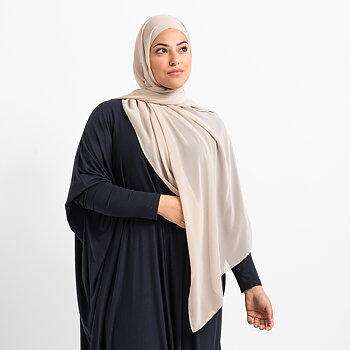 Luxe Chiffon hijab with integrated bonnet - Stone beige