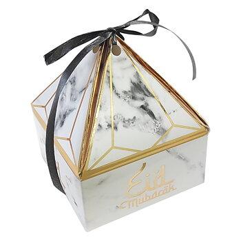 Eid Mubarak pyramid gåvobox marmorerad