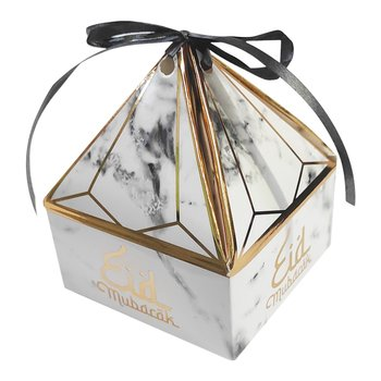 Eid Mubarak pyramid gift box marbled