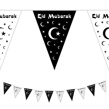 Eid Mubarak girland black/white 10m