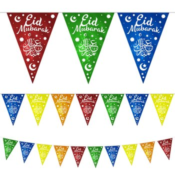 Eid Mubarak moon and stars multicolored girlang 10