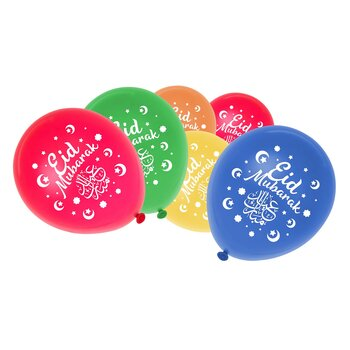 Eid Mubarak moon stars multicolored ballons 6-pcs