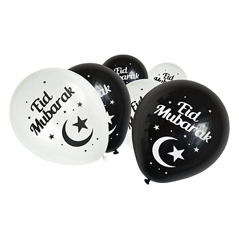 Eid Mubarak black/white ballons 6-pcs