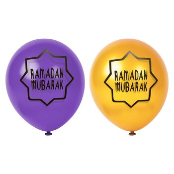 Ramadan Mubarak purple/gold ballons 6-pcs