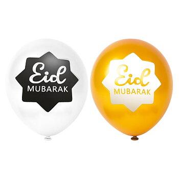Eid Mubarak gold/white ballons 6-pcs