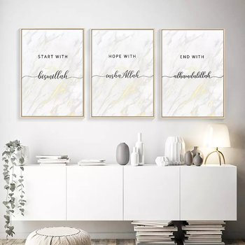 "Posters set ""Hope with In Shaa Allah, Start with bismillah, End with Alhamdlillah"" marmorerad"