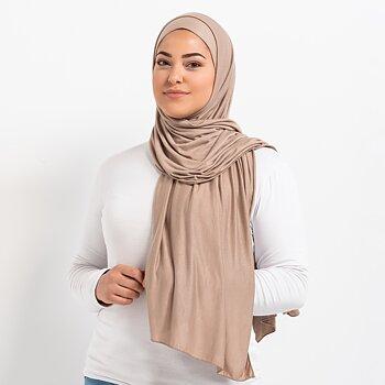Tie-back Premium Jersey hijab - Vanilj