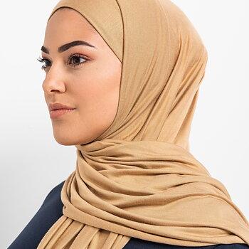 Tie-back Premium Jersey hijab - Tan
