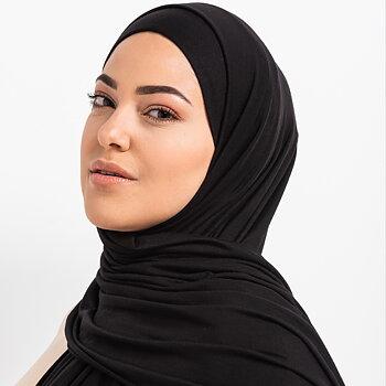 Tie-back Premium Jersey hijab - Svart