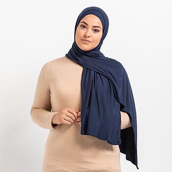 Tie-back Premium Jersey hijab - Mörkblå