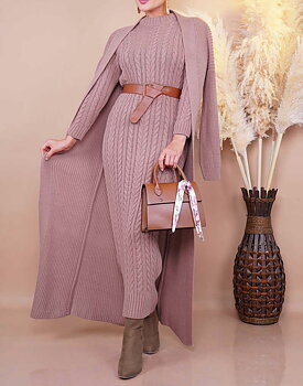 Knitted set maxidress and cardigan