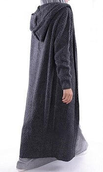 Wool maxi cardigan with hood