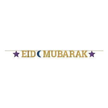 Eid Mubarak girlang guld/lila/blå 3,65m