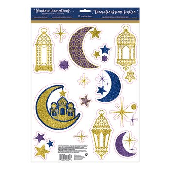 Eid/Ramadan window decoration purple/gold