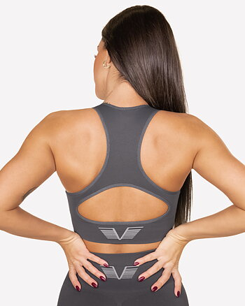 GAVELO Seamless Booster Gun Metal Sports Bra