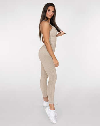 GAVELO Seamless Ribbed Sand Melange Tights