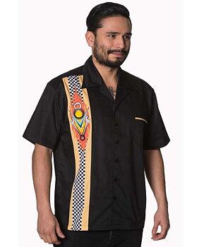 Bowlingskjorta Herrskjorta Retro Skjorta med V8 Banned