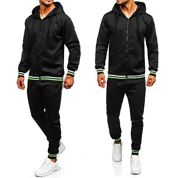 Svart träningsoverall med zip hoodie och joggingbyxor för endast 349 kr