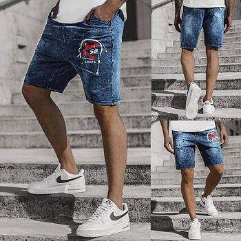 Blåa jeansshorts med tryck