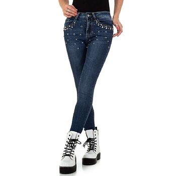 Skinny Fit jeans med pärlbroderi
