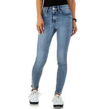 Ljusblå Skinny Fit jeans med Pärlbroderi