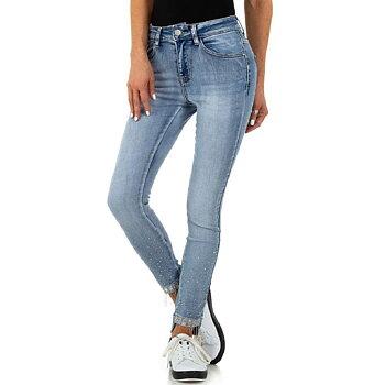 Ljusblå Skinny Fit jeans med Strassstenar