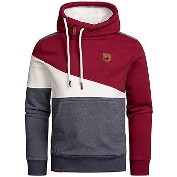 Hoodie flerfärgad Röd/Vit/Blågrå