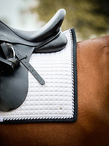 Dressage saddle pad, White/Black
