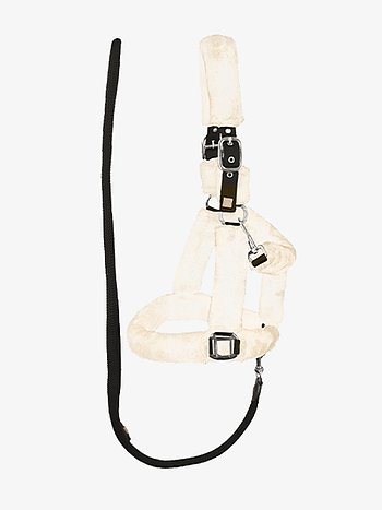 Fluffy halter + lead rope, Cream