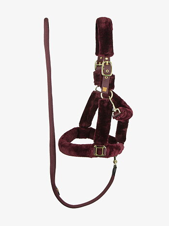 Fluffy halter + lead rope, Wine