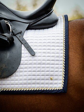 Dressage saddle pad, White/Navy, FULL