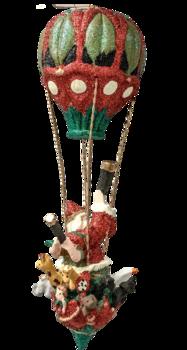 Tomte i glittrig luftballong med djur