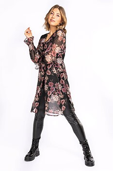 COSETTE SHIRT TUNIC BLACK/ROSE/SAND