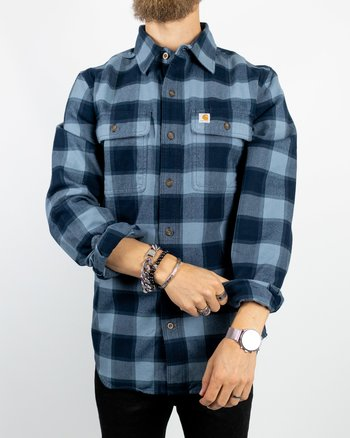 Carhartt - Hubbard Slim Fit Flannel Shirt Steel Blue